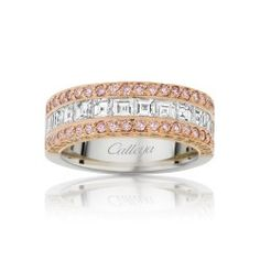 A carre cut Diamond Ring with Australian Argyle Pink & White Diamonds makes a dazzling statement set in Platinum & 18 ct Rose Gold