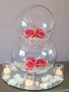 Fish bowl centrepieces are available to hire from only £15.00 based in Leeds, covering Yorkshire. Perfect for Weddings. All our designs can be changed.