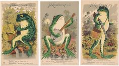 3 Victorian Trade Card Boraxine Elite Toilet Soap Frog Fishing Hunting Banjo #BoraxineElite
