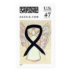 Black Awareness Ribbon Angel Custom Postage Stamp