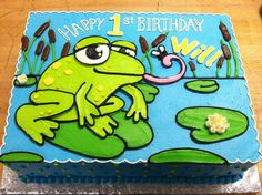 Super cute birthday cake from The White Flower Cake Shoppe Frog Cakes, Cupcake Cakes, Cupcake Ideas, Pretty Cakes, Cute Cakes, Awesome Cakes, Buttercream Fondant, Buttercream Ideas, Buttercream Flowers