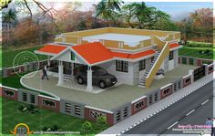 4 bedroom single floor house kerala style with modern house design hallway and round timber entrance door handle and modern bungalow house design philippines 2019 2 Bedroom House Design, Modern Bungalow House Design, Single Floor House Design, House Roof Design, Village House Design, Simple House Design, Bedroom House Plans, Indian Home Design, Kerala House Design