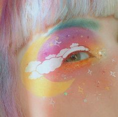 Festival Eye Make Up inspired by Jana Poehlmann Makeup Fx, Artist Makeup, Blue Eye Makeup, Beauty Makeup, Pastel Makeup, Eyeshadow Makeup, Eyeshadow Palette, Makeup 2018, Makeup Tools