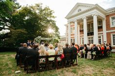 The sun shines on an outdoor ceremony. Georgian Mansion, Outdoor Gazebos, Walking Paths, Iron Work, Grand Entrance, Intimate Weddings, Outdoor Ceremony, French Doors, Terrace