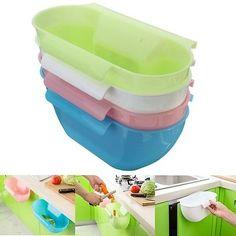 4-Color Kitchen Mini Trash Can Over the Cabinet Waste Basket Garbage Rubbish Bin