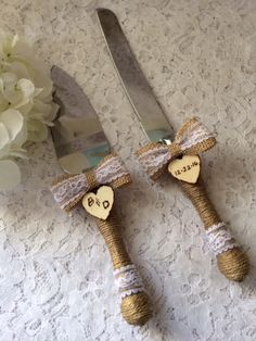 Rustic Cake Knife Set, Wedding Accessory, Burlap Cake Knife Set, Lace Wedding Knife & Server Set, Engraved Cake Knife Set, Burlap bow knife by therusticcharmer on Etsy https://www.etsy.com/listing/278655522/rustic-cake-knife-set-wedding-accessory