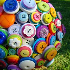 Custom Colorful Rainbow Button Bouquet by YanaDesigns on Etsy
