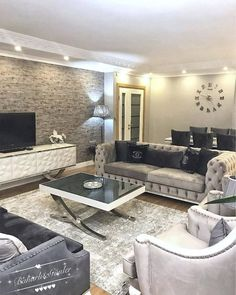 Classy Living Room, Home Living Room, Living Room Decor, Home Room Design, Living Room Designs, Luxury Dining Room, Luxury Homes Interior, Living Room Pictures, Furniture Layout