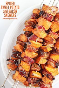 Sugar and spice and everything nice...that's what this Spiced Sweet Potato and Bacon Skewers recipe is made of! An easy side dish, perfect for fall.