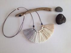 White noise  Ombre fiber tassel necklace Beige grey by NinaPaco