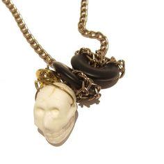 Magnesite Necklace 01 Chain Agate Black White Skull Stone Crystal Healing 23  Price : $65.00 http://www.idigcrystals.com/Magnesite-Necklace-Chain-Crystal-Healing/dp/B007M4JFQM