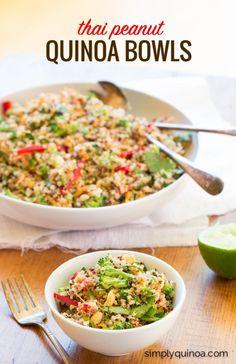 Clean Eating Peanut Thai Quinoa Salad with crunchy veggies and a cream dressing