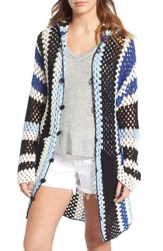 Free shipping and returns on Standard Form Crochet Cover-Up Hoodie at Nordstrom.com. A hand-crocheted cover-up topped with a slouchy hood is patterned in lively stripes and finished with yarn-covered hook-and-loop buttons.