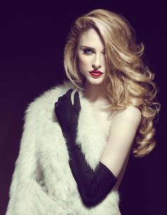 sexy & sultry in fur with red lips