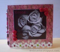 Mini álbum transparente com o tema rosas