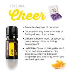 An uplifting blend may promote positive emotions Available from www.mydoterra.com/pamhill