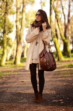 Pleated dress under a big sweater