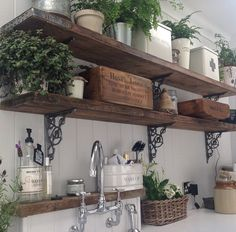 Victorian Shelf Brackets with Rustic Shelving