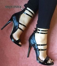 64.28$  Know more - http://aikga.worlditems.win/all/product.php?id=32799007141 - cool black snakeskin stiletto heel women sandals open toe cover heel ankle strap shoes platform party nightclub shoes