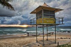 Sun Kissed Australia - Lifeguard sunset on Coolangatta Beach Gold Coast Queensland