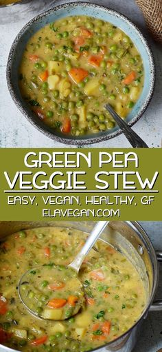 This hearty vegan vegetable soup contains green peas, potatoes, carrots, and other healthy vegetables. The recipe for this vegetable stew is plant-based, gluten-free and easy to prepare in a single … Veggie Stew Recipes, Vegan Vegetable Soup, Vegetarian Recipes, Cooking Recipes, Vegitarian Soup Recipes, Veggie Dishes, Vegan Stew, Vegan Soups, Healthy Meal Prep