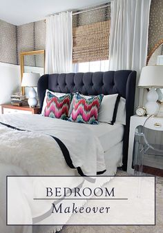 This bedroom makeover perfectly balances sophisticated neutrals, traditional shapes, and fun patterns.
