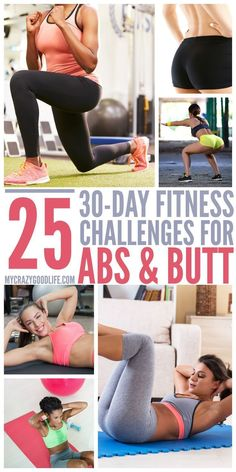 25 Different 30 Day Abs and Butt Workout Challenges | 30 Day Workout Challenges