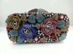 69.00$  Watch now - http://ali74y.worldwells.pw/go.php?t=32334506914 - #8207J Crystal Rose Flower Floral Bridal Party hollow Metal Evening purse clutch bag handbag case 69.00$