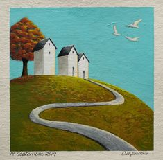 Landscape painting, Houses on a hill painting, Autumn tree painting, Small affordable art, 6x6 inch acrylic painting, Art within 11x14 mount Small Paintings, Landscape Paintings, Tree Paintings, House Painting, Painting Art, Original Artwork, Original Paintings, House On A Hill, Affordable Art