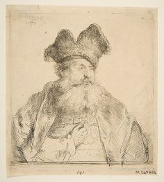 Old Man with a Divided Fur Cap Rembrandt (Rembrandt van Rijn)  (Dutch, Leiden 1606–1669 Amsterdam) Date: 1640 Medium: Etching with some drypoint; first state of two Dimensions: sheet: 6 7/16 x 5 11/16 in. (16.3 x 14.4 cm) Classification: Prints Credit Line: Gift of Henry Walters, 1917 Accession Number: 17.37.189