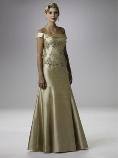 A-line Off-the-shoulder Gold Beading Taffeta Short Floor-length Dress