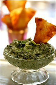 Spinach Basil Dip.  One of my favorite party recipes.  Ignore the chopping part of the directions - just put it all in a food processor and go!