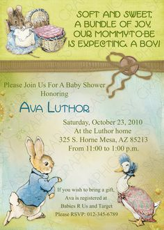 Boy Baby Shower Invitation  Peter Rabbit Theme Vintage by Sassygfx, $13.00