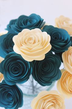 Love these paper flowers!!!  12 Dark Teal and Cream Paper Flower Bouquet - Wedding - Home Decor - Bridal - Gift - Party - Baby Shower on Etsy, $12.15