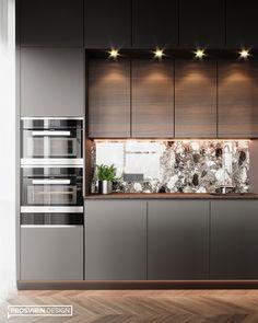 Modern Kitchen Interiors, Luxury Kitchen Design, Kitchen Room Design, Modern Kitchen Cabinets, Contemporary Kitchen Design, Kitchen Cabinet Design, Home Decor Kitchen, Interior Design Kitchen, Small Modern Kitchens