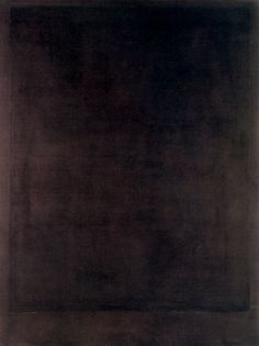 Black Painting Nº 8, by Mark Rothko, 1964  These works mark a complete break with his colour field paintings of the 1950s, not only for their radically different deployment of colour.At first glance, these paintings may appear solid black. However, prolonged contemplation reveals the slow build-up of the surface through multiple layers and the close attention Rothko paid to gradations in tone and texture. Rather than annihilating colour and light, theBlack-Formpaintings ap