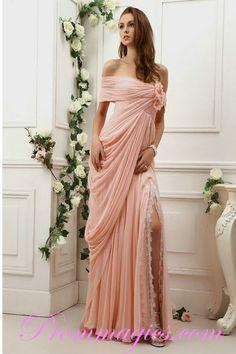 $214 prommagics.com Off The Shoulder Chiffon Slid Goddess Coral Prom Dresses