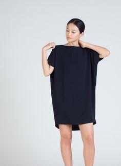 Black Blue Angle Mini Dolman Open Back Dress