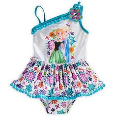 Disney Anna and Elsa Swimsuit for Girls | Disney StoreAnna and Elsa Swimsuit for Girls - This Anna and Elsa Swimsuit for Girls is swimming in a colorful snowflake print that will brighten up trips to the beach or pool. The assymetrical design of this one-piece suit pictures the <i>Frozen</i> sisters beside a dazzling jewel.