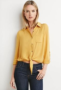 Knot-Front Shirt | Forever 21 | #thelatest