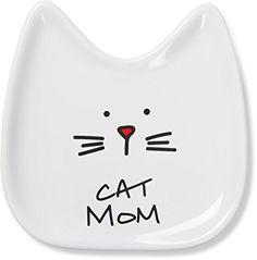 "Pavilion Gift Company Blobby Cat, Cat Spoon Rest "" Cat Mom"", 5"", White"