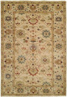 RugStudio presents HRI Peshawar P-5 Ivory Beige Hand-Knotted, Best Quality Area Rug