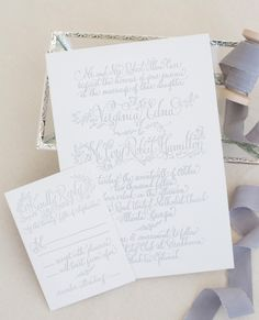 grey and white invite wedding calligraphy