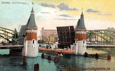 Stettin - Parnitzbrücke Old City, Homeland, Touring, Germany, Landscape, World, Painting, Vintage, 3d