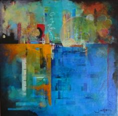 """'Ephemera of Mindfulness' by Jules Horn 12""""x 12"""" acrylic on canvas  juleshorn.co.uk"""