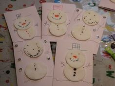 Christmas snowman cotton wool thank you cards - NurtureStore