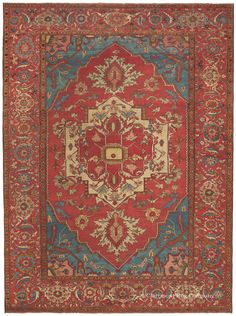 Serapi, 9ft 6in x 13ft 0in, 3rd Quarter, 19th Century. The estate of a prominent southern banker, the Carolina Cache includes a series of utterly amazing 19th century Persian Serapi rugs. One is this singular large room size antique carpet that perfectly marries potent colors with a spaciously placed, stylized floral design. See how crisply each of its over-scale motifs appears. The amazing depth of its royal blues create the sense of looking into a deep pool of water.