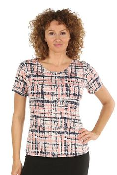 Charlotte Gold Women's Plus size Pink Short Sleeve Round Neck Geometrical Print Summer Top | Sizes 12-22