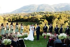 Covenant Wedding featured on Elizabeth Anne Designs:  Trish and Bronson's ceremony space took in the natural slope of her mom's estate overlooking Sonoma wine country where she was raised. The view to the south was a perfect reflection of wine country.