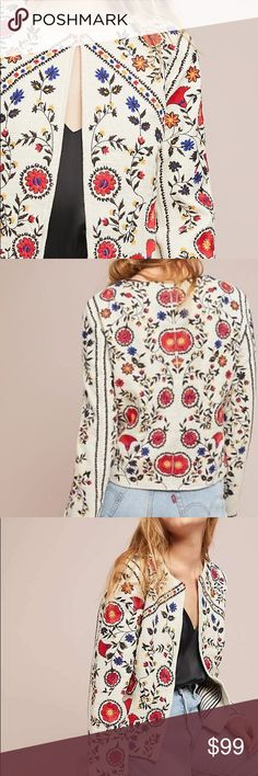 ANTHROPOLOGIE Kirian Floral Embroidered Jacket Sold out at Anthro, but available here.  Size XL, and worn once.  Now too large for me, this available for you!  EUC. Anthropologie Jackets & Coats Blazers